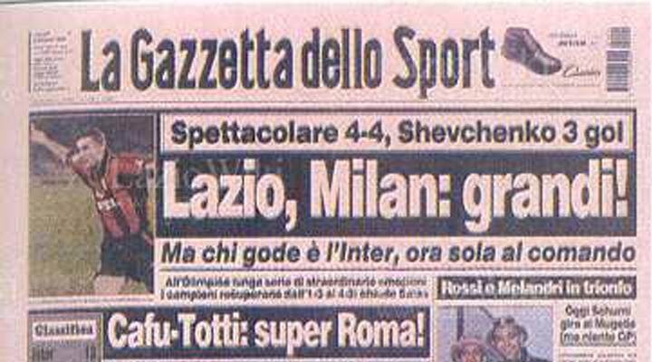 ⚽ 03 Ottobre 1999 | Lazio – Milan 4-4, Sheva Show